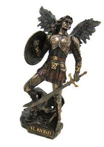 Archangel Saint Michael Statue Real Bronze Powder Cast