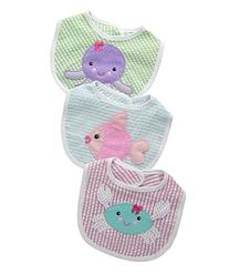 Baby Aspen, Beach Buddies 3-Piece Bib Gift Set, Pink/Purple/
