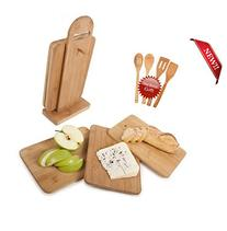 Bamboo Cutting Board Set- 5 Piece With 4 FREE Bamboo Spoons
