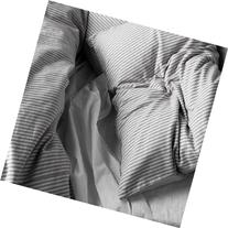 Beautiful White and Gray Striped Pattern Duvet Cover and