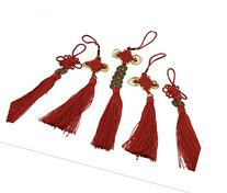 BeautyMood 5 pcs Chinese Red Enless Knot Feng Shui Coins to