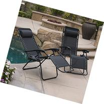 Belleze 2-Pack Zero Gravity Chairs Patio Lounge +Cup Holder/