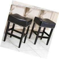 Best Selling Lennox Backless Leather Counter Stool, Black,