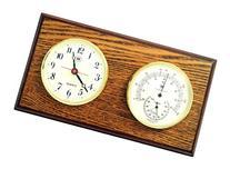 Bey-Berk International Brass Clock, Thermo./Hygro. on Oak T.