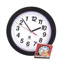 Black Backwards Wall Clock, Runs Counterclockwise and