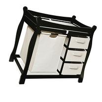 Black Sleigh Style Changing Table with Hamper/3 Baskets by