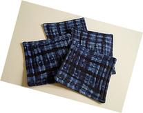 Blue Indigo Shibori Fabric Coasters Set