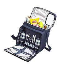 Blue Insulated Picnic Basket - Lunch Tote Cooler Backpack w