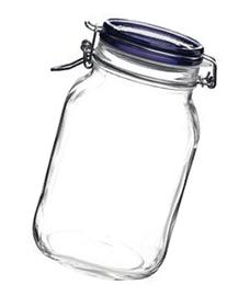 Bormioli Rocco Fido Square Jar with Blue Lid, 67.5-Ounce