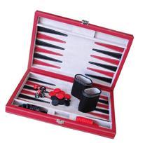 Brandon Red and Black Leatherette Backgammon Set - 12 Inch