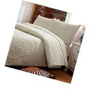 Brandream White Beige Vintage Floral Comforter Set Queen