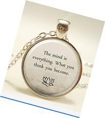 Buddha Quote Necklace, Inspirational Yoga Jewelery,