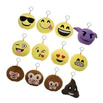 Bundle - 12pk Mini Emoji Hanging Plush Pillow Set Emoticons