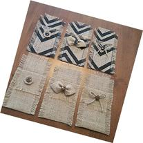 Burlap Silverware Holders with Buttons or Bows in Natural or