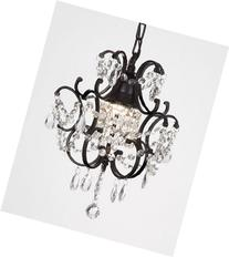 """CHANDELIER WROUGHT IRON CRYSTAL CHANDELIERS H14"""" W11"""