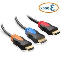 Cable Matters 3-Pack, Gold Plated High Speed HDMI Cable 15