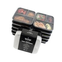 Food Containers 3 Compartment Bento Box Storage with Lids,