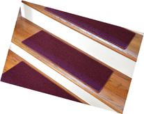 "Carpet Stair Treads 23"" x 8"" - Burgundy - Set of 13 - Double"