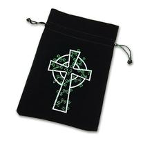 SomethingDifferent Celtic Cross Luxury Velvet Drawstring