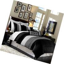 Chezmoi Collection 104 x 92-Inch 8-Piece Luxury Stripe