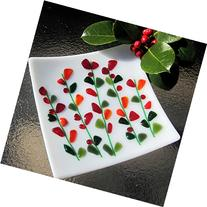 Christmas Glass Plate, Fused Glass Plate, Blooming Branches