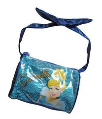 Cinderella Sequined Satin Handbag with Ribbon Bow Handle