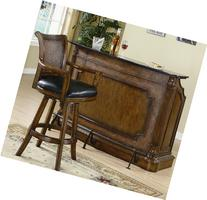 Coaster Black Marble Top Bar in Brown Finish