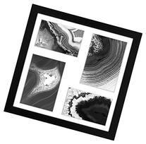 12x12 Inch Black Collage Picture Frame; Made to Display 4 Photos: Two 4x6 Inch Pictures and Two 5x7 Pictures with Mat