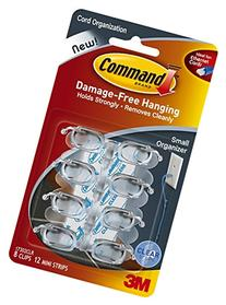 Command Small Cord Clips, Clear, 16-Clip