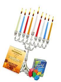 Complete Hanukkah Menorah Set - Menorah - Candles - Dreidels