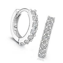 Creazy Women's 925 Sterling Silver Rhinestones Hoop Diamond