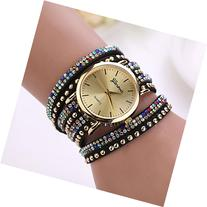Creazy® Women Rivet Crystal Bracelet Braided Winding Wrap