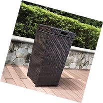 Crosley Palm Harbor Outdoor Wicker Trash Bin, Brown