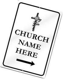 Custom Church Right Directional Arrow With Cross Metal Sign