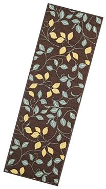 Custom Size Runner Chocolate Brown Floral Non-Slip  Rubber