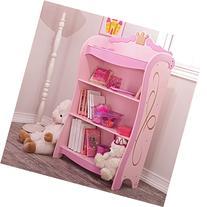 "Cute and Elegant Pink Princess 4-Shelf Bookcase, 38"" High"