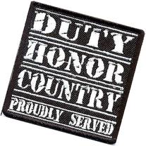 DUTY HONOR COUNTRY WHITE MILITARY VET Embroidered Motorcycle