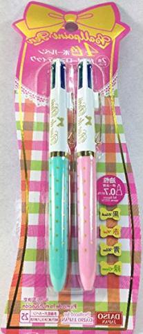 Daiso Japan,4-color Ball Pen,girly Romantic,kawaii.2 Pack