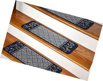 Dean Washable Non-Skid Carpet Stair Treads - Navy Blue