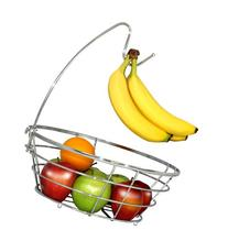 DecoBros Wire Fruit Tree Bowl with Banana Hanger, Chrome