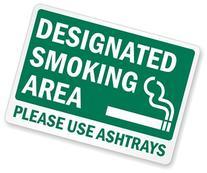 """Designated Smoking Area Please Use Ashtrays  Label, 14"""" x 10"""