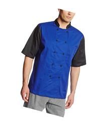 Dickies Men's Color Block Cool Breeze Chef Coat, Royal/Black