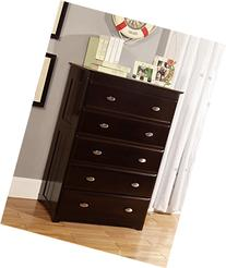 Discovery World Furniture 5 Drawer Chest, Espresso