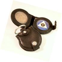 Double LEATHER KEY TAG Dark Brown - Holds 2 AA Medallions /