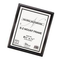 - EZ Mount Document Frame, Plastic, 8 1/2 x 11, Black
