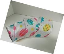Easter gift wrap ribbon - 3 yd x 2.5 in - wire edged -