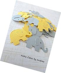 Elephant Confetti, Yellow and Gray, Baby Shower Decorations