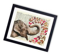 Elephant With Butterflies  Upcycled Vintage Dictionary Art