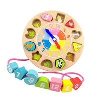 Elloapic Children's Teaching Clocks Time Learning Wooden