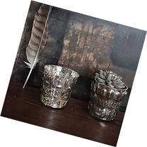 Embossed Mercury Glass Votive Holder, Set of 2